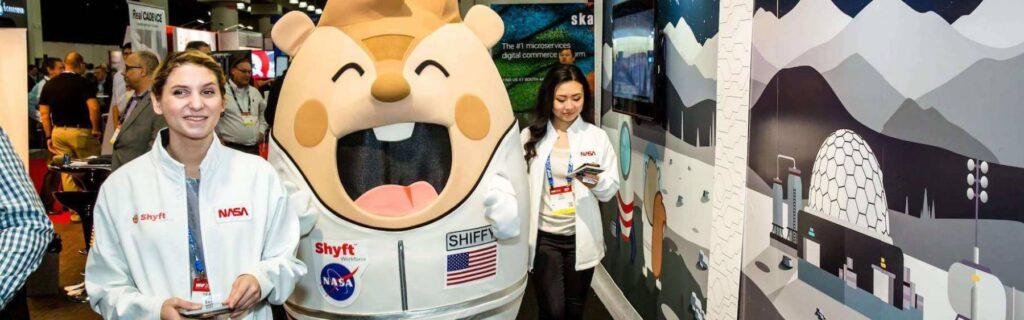 Shyft Mascot Costume At Tradeshow