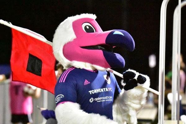 Tormenta FC Bolt Mascot Carrying Flag