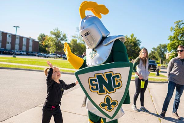 Knight Mascot Costume Giving High Five