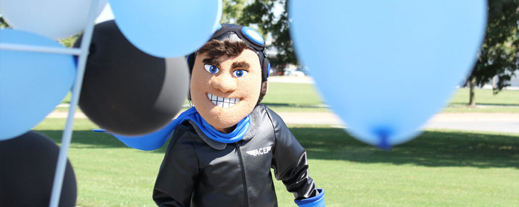 Ace the Aviator Mascot Costume With Balloons