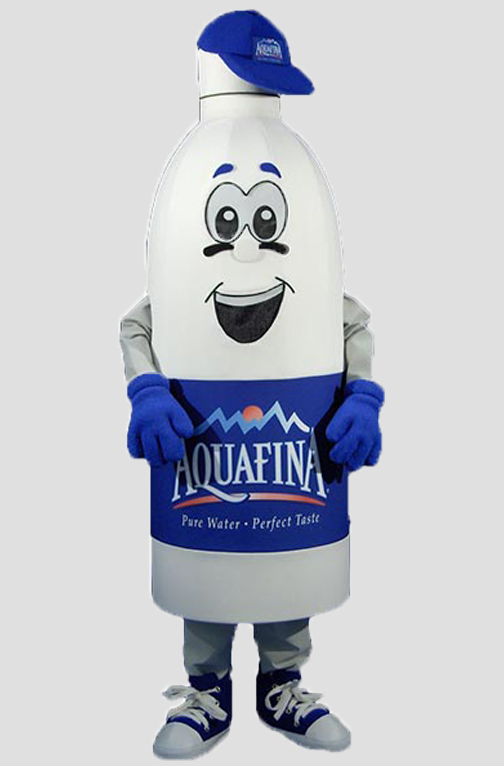corporate mascot aquafina water bottle