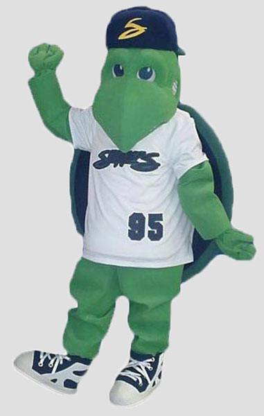 Sports Mascots turtle wearing baseball uniform