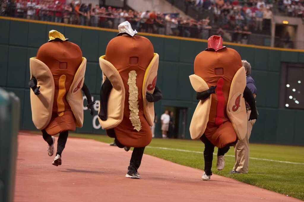 old cleveland indians racing hot dog mascots