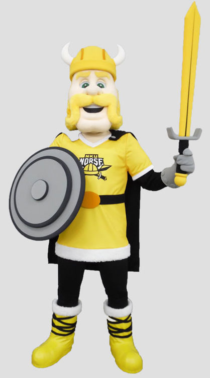 School mascot norseman with shield and sword