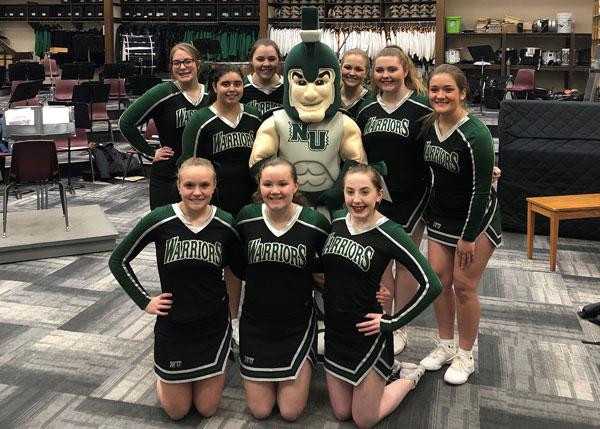 High School Girls With Warrior Mascot