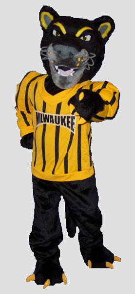 School mascot panther wearing jersey