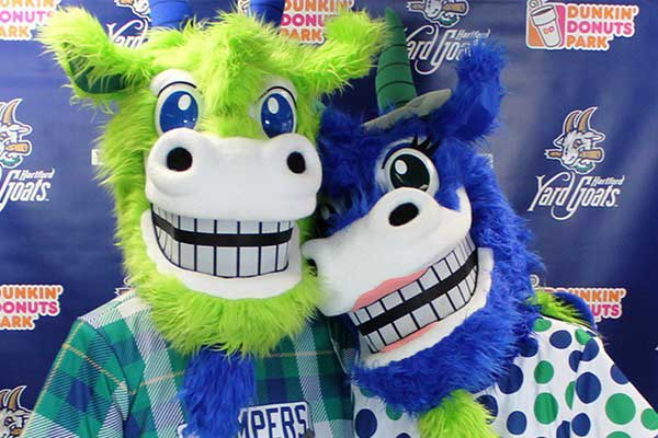Hartford Yard Goats Chompers and Chew Chew Mascots