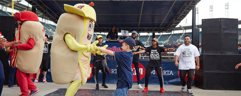 Cleveland Indians Racing Hot Dogs Mascot Performer