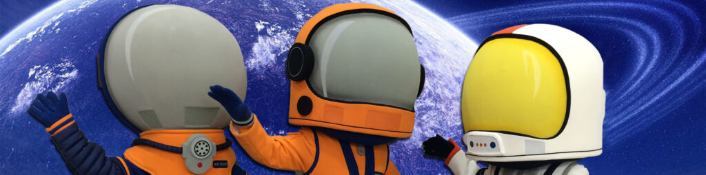 Three space themed mascot helmet heads