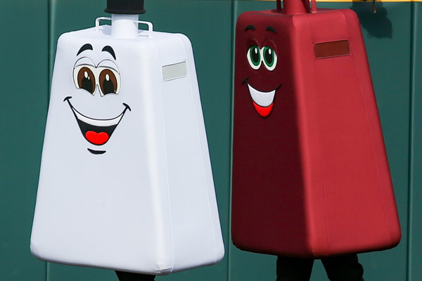 Red and white racing cowbell mascots
