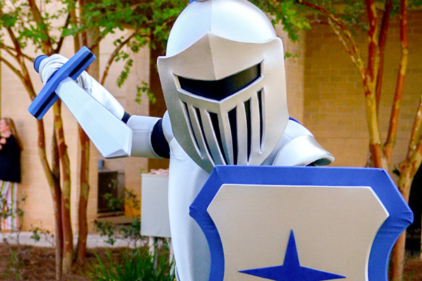 Fierce mascot knight standing in defensive position