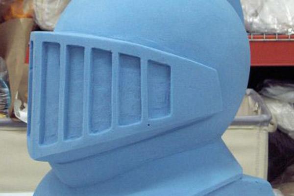 Vacuum formed foam blue knight mascot head