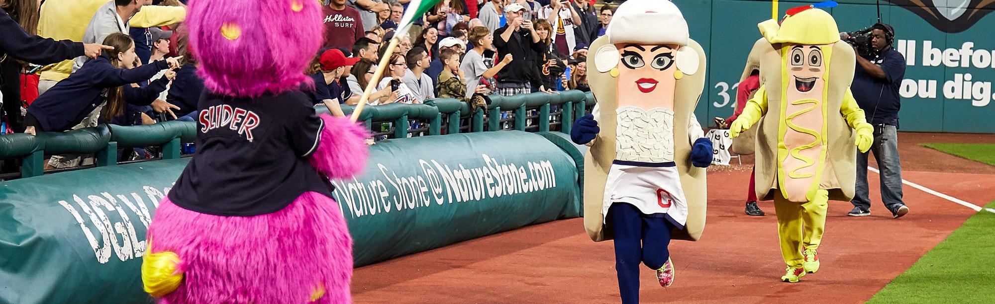 Cleveland Indian's hot dog mascots run race
