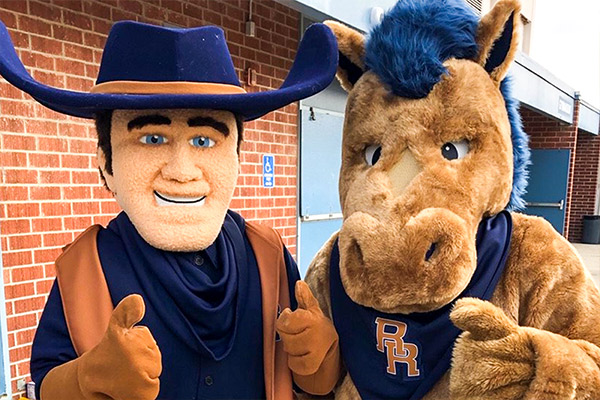 Rowland High School Mascots with thumbs-up