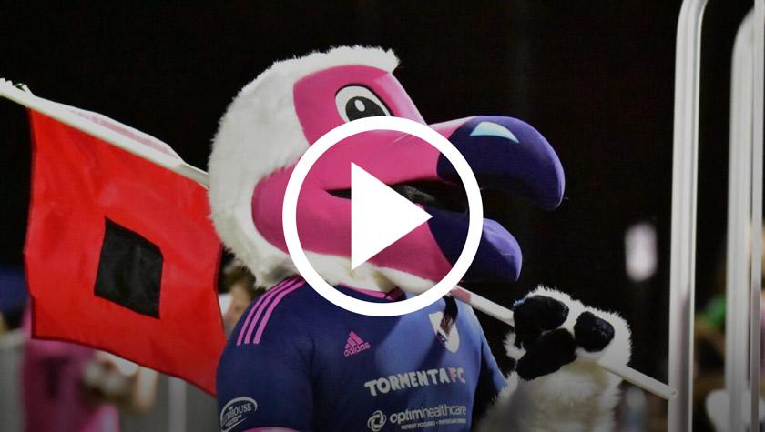 YouTube play button over bird mascot image
