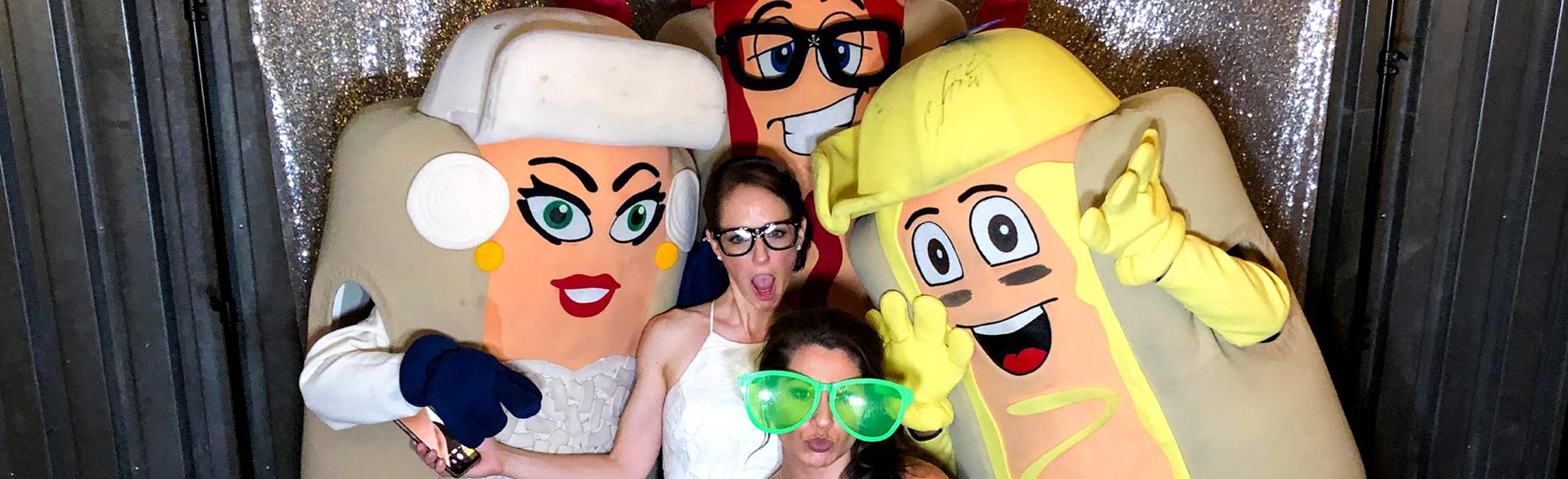 Cleveland Indian's hot dog mascots at wedding