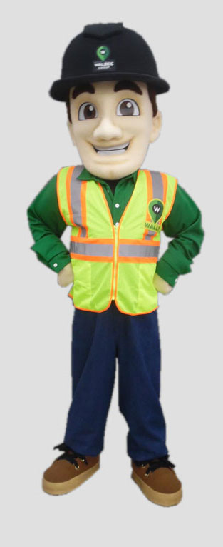 Male construction man mascot for construction group