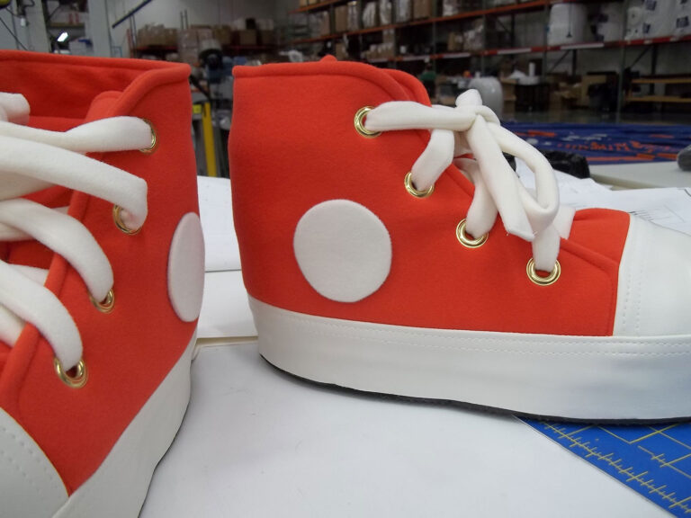 close up shot of orange mascot feet