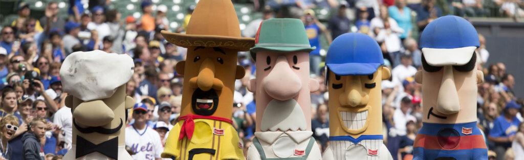 Racing sausages custom mascot costumes