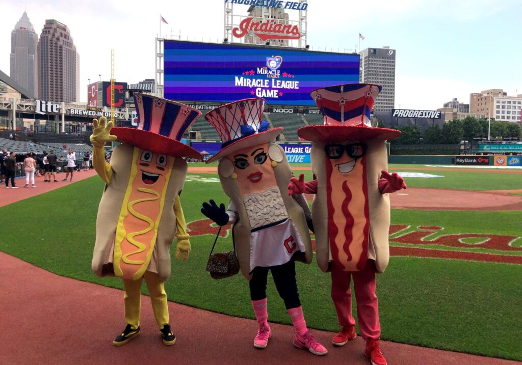 mascots showing accessories