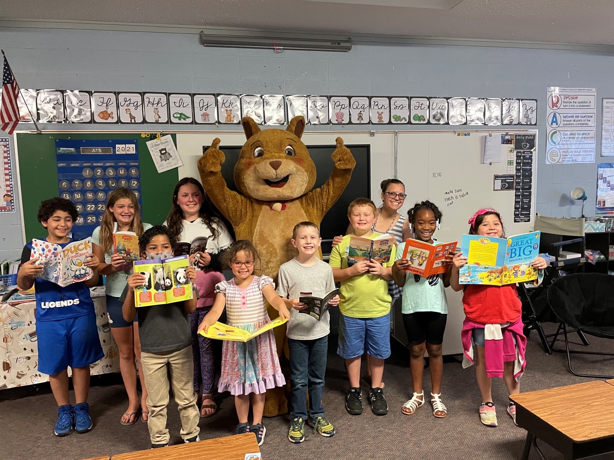 mascot with classroom of kids